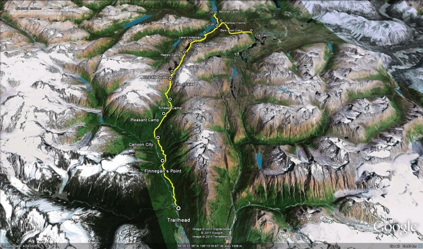 Chilkoot Trail Elevation Map.Chilkoot Trail Hiking Skiing And Snowshoeing Trails In The Yukon